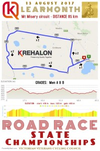 VVCC 2017 Road Race State Champs 85 km map