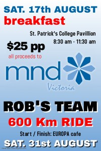 Rob's Team - MND fundraisers 2019 poster